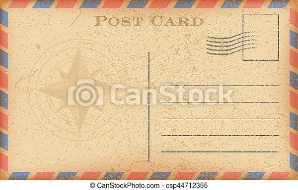 vecteur, vieux, postcard., carte postale, vendange, papier, compass., grunge - csp44712355