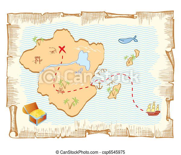 vecteur, vieux, trésor, map., papier, fond - csp6545975