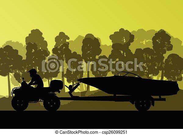 vecteur, yacht, caravane bateau - csp26099251