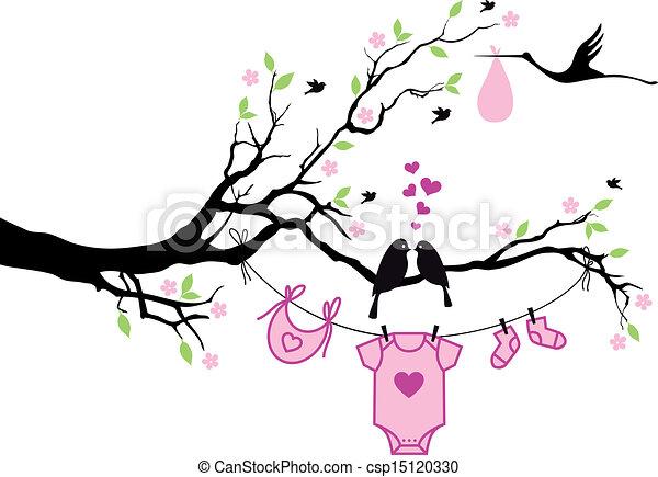 Niña con pájaros en el árbol, vecto - csp15120330