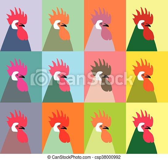 vecto, δώδεκα , roosters , πολύχρωμα  - csp38000992