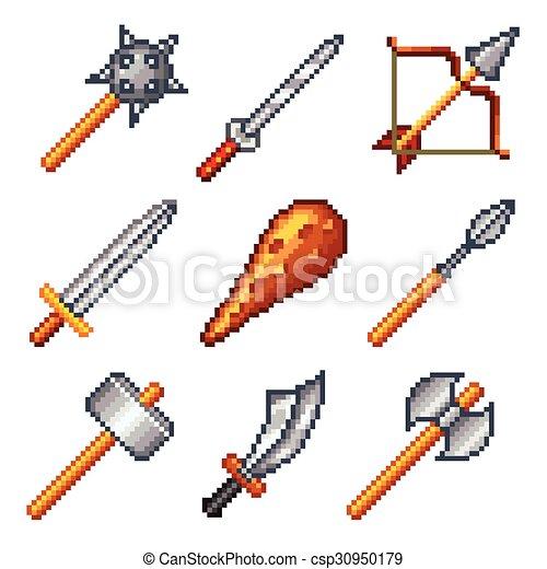 Vecto Armes Jeux Pixel Icônes