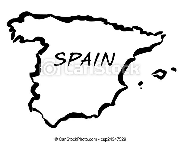 Map Of Spain Drawing.Vecto Balck Drawing Map Of Spain