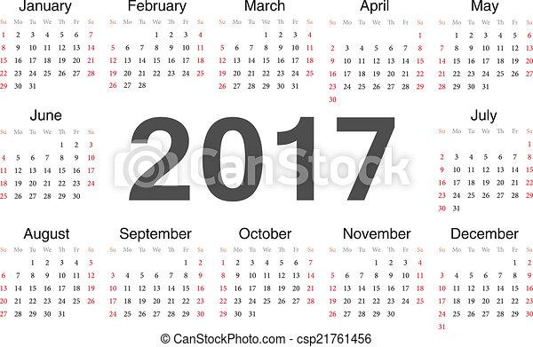 Vecto Calendario 2017 Rcircle Settimana Inizi 2017 Vettore Sunday Cerchio Calendario Canstock