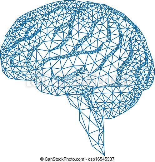 Cerebro con patrón geométrico, vecto - csp16545337