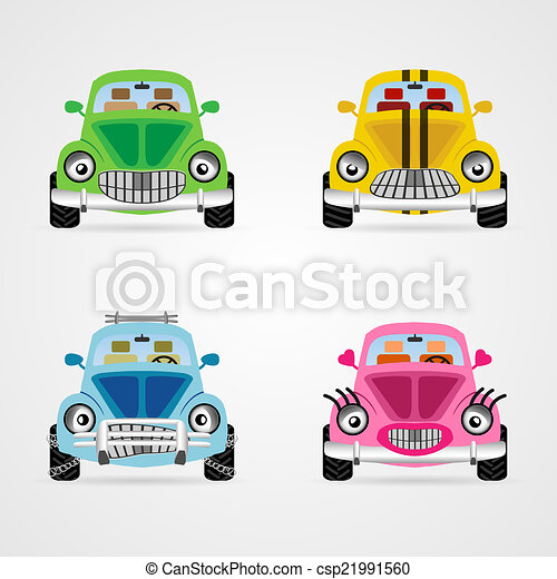 Set Of Cute Vector Cartoon Car Illustrations In Different Moods And Colors