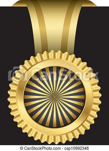 vecto, doré, ruban, étiquette - csp10992348