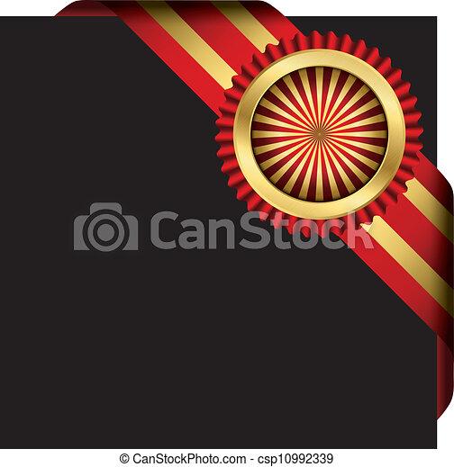 vecto, doré, ruban, rouges, étiquette - csp10992339