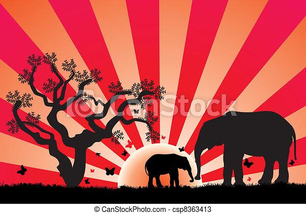 Elefantes vectores en África - csp8363413