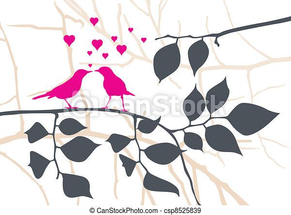 Pájaros de amor en un árbol, vector - csp8525839