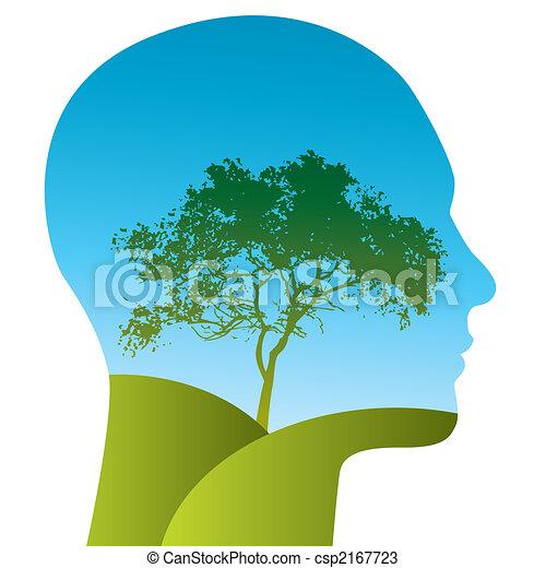 El hombre del vector con un árbol - csp2167723