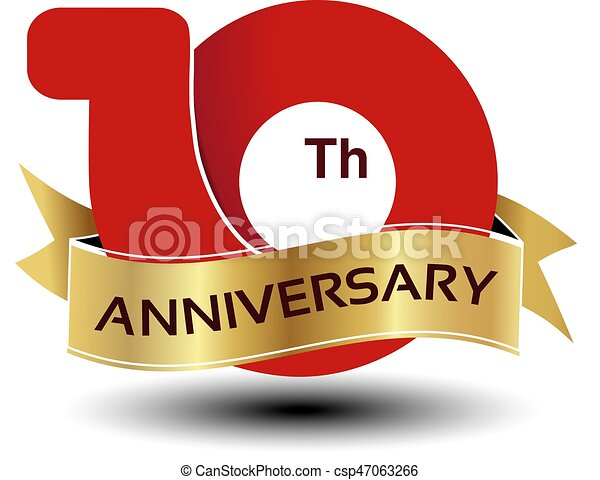 Vector years anniversary red number with golden ribbon