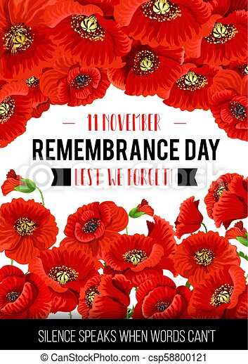 Vector 11 November Remembrance Day Poppy Card Remembrance Day