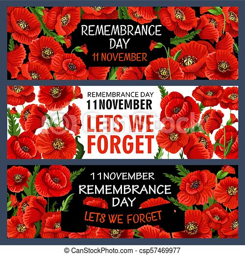 Vector 11 November Remembrance Day Poppy Banners Remembrance Day