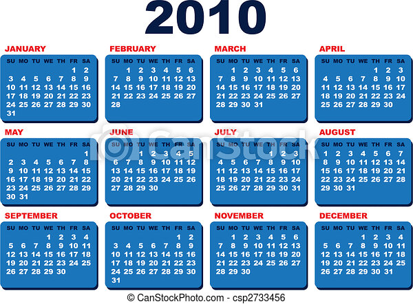 naptár 2010 es Vector 2010 calendar template (arial black font over white background) naptár 2010 es