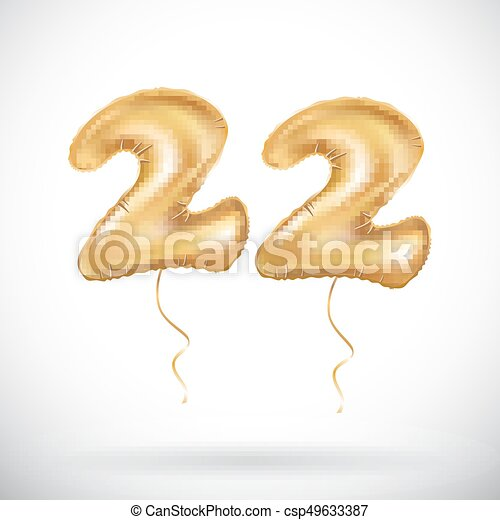vector 22 anniversary celebration with brilliant gold balloons