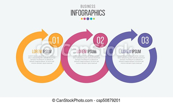 vector 3 steps timeline infographic template with circular arrow
