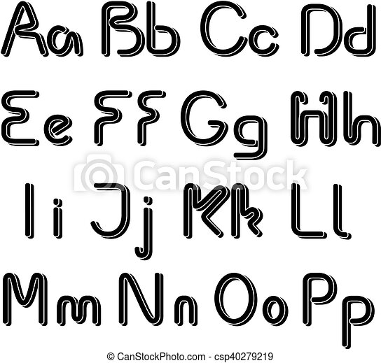 Vector 3d Black Font Alphabet