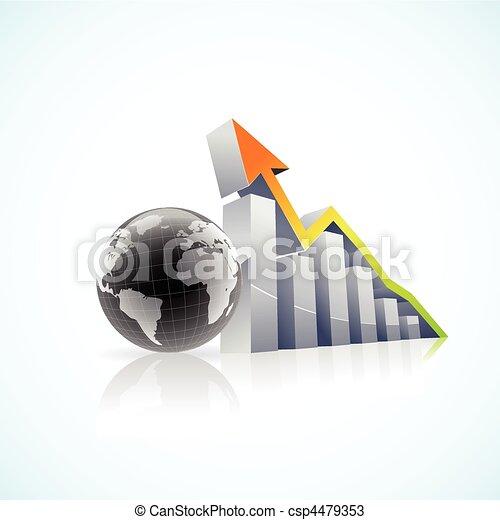 vector 3D global economy bar graph - csp4479353