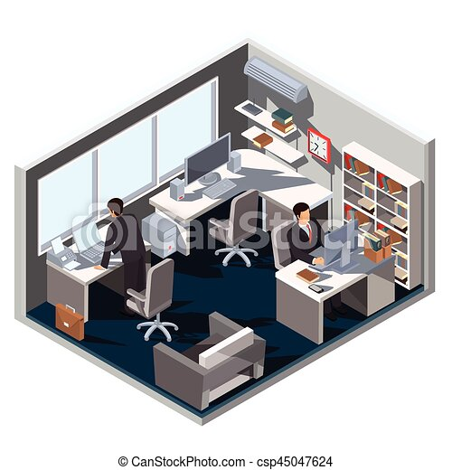 Vector 3d isometric illustration interior office room and employees ...