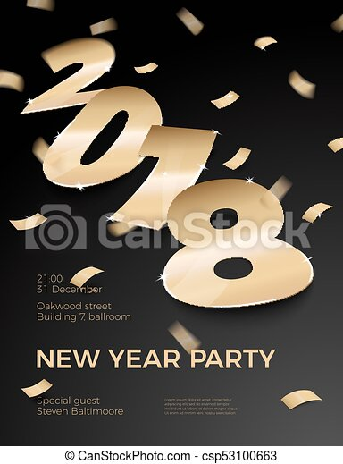 vector 3d realistic new year party invitation with gold foil paper number 2018 laying on black surface with confetti shadows perspective and blur