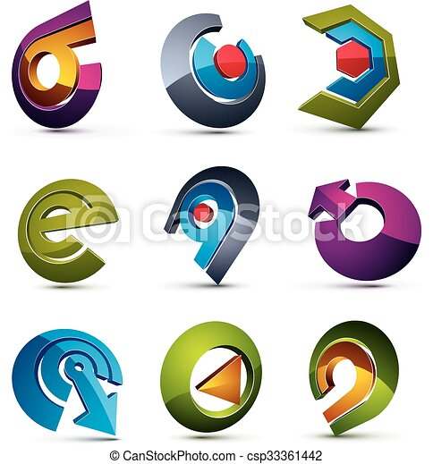 Vector 3d simple navigation pictograms collection. Set of colorful corporate abstract design elements. Arrows and circular web icons. - csp33361442