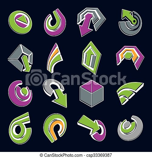 Vector 3d simple navigation pictograms collection. Set of green and purple corporate abstract design elements. Arrows and circular web icons. - csp33369387