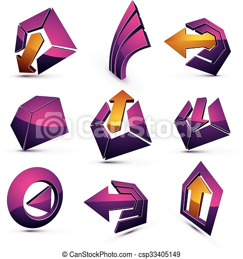 Vector 3d simple navigation pictograms collection. Set of purple corporate abstract design elements. Arrows and circular web icons. - csp33405149