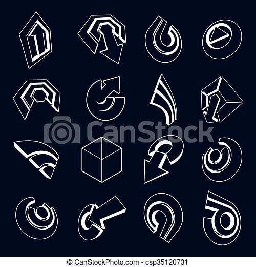Vector 3d simple navigation pictograms collection. Set of monochrome corporate abstract design elements. Arrows and circular web icons. - csp35120731
