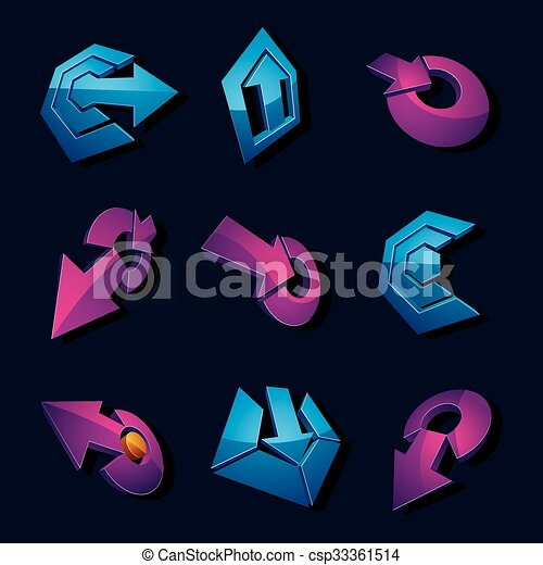 Vector 3d simple navigation pictograms collection. Set of blue and purple corporate abstract design elements. Arrows and circular web icons. - csp33361514