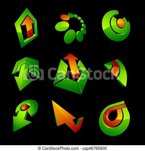 Vector 3d simple navigation pictograms collection. Set of green corporate abstract design elements. Arrows and circular web icons. - csp46765600
