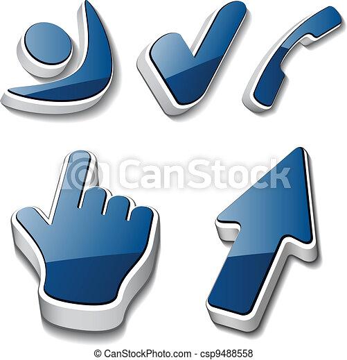 vector 3d symbols human checkmark phone cursor - csp9488558