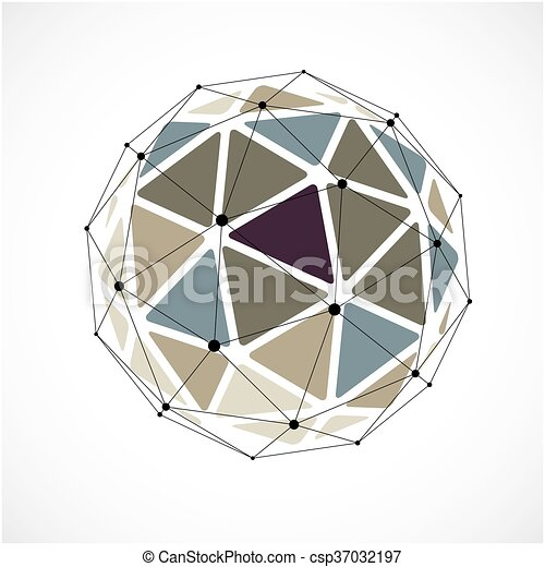 Vector 3d wireframe low poly - csp37032197