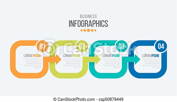 Vector 4 steps timeline infographic template with arrows. vector ...