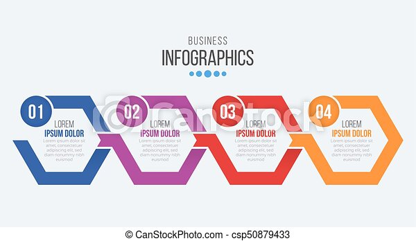 vector 4 steps timeline infographic template with arrows vector 4