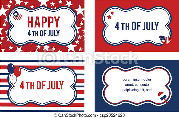 Vector 4th of july labels or cards - csp20524620