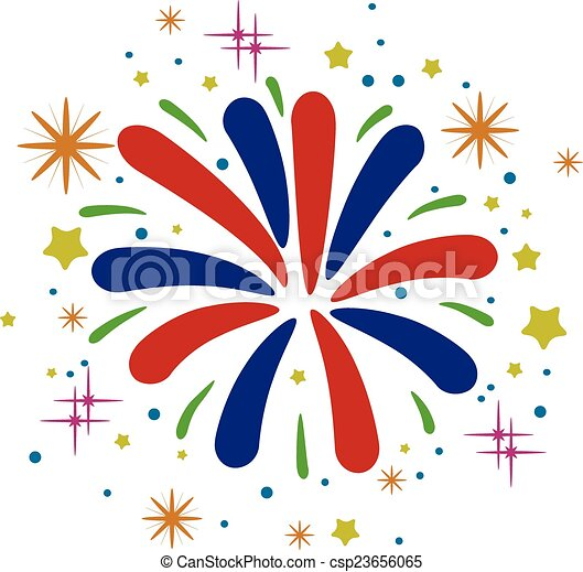 vector abstract anniversary bursting fireworks  - csp23656065