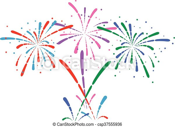 vector abstract anniversary bursting fireworks - csp37555936