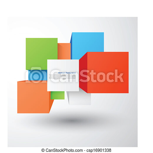 Vector abstract background. Square and 3d object - csp16901338
