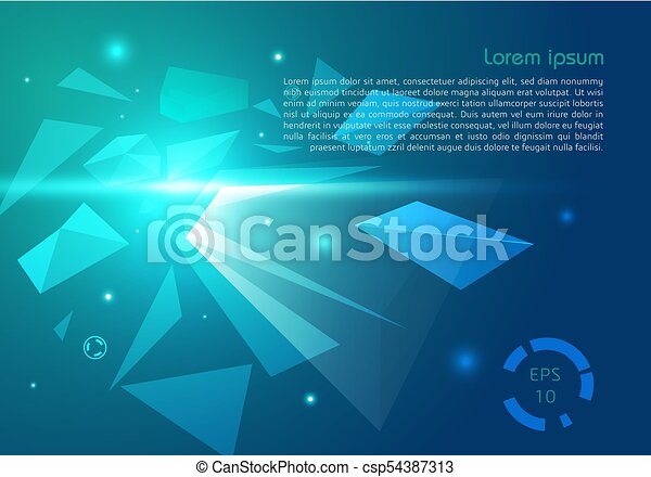 Vector Abstract Background With Polygon Explosion In Cyan And Blue Color
