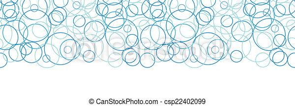Vector abstract blue circles horizontal border seamless pattern background - csp22402099