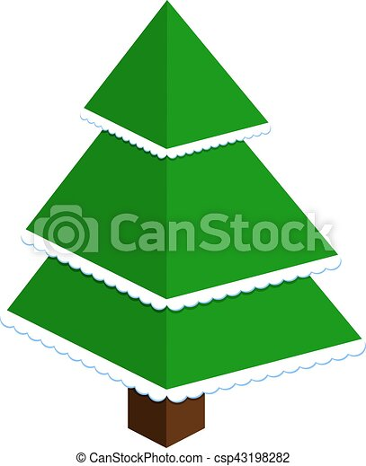 vector abstract christmas tree made of green triangles with snow