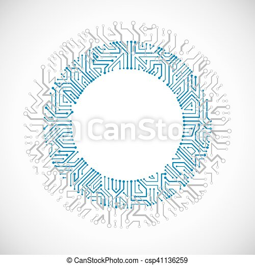 vector abstract colorful technology illustration with round blue