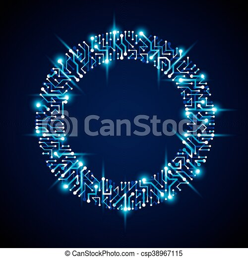 Vector abstract computer glare circuit board, blue round technology ...