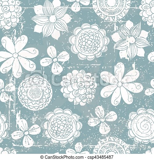 Vector abstract hand-drawn background with flowers . - csp43485487