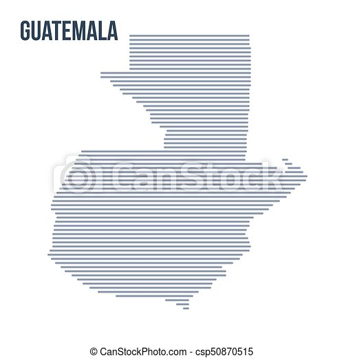 Vector abstract hatched map of Guatemala with horizontal lines isolated on a white background. - csp50870515