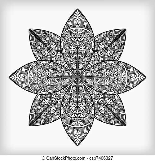 Vector abstract highly detailed nonochrome flower