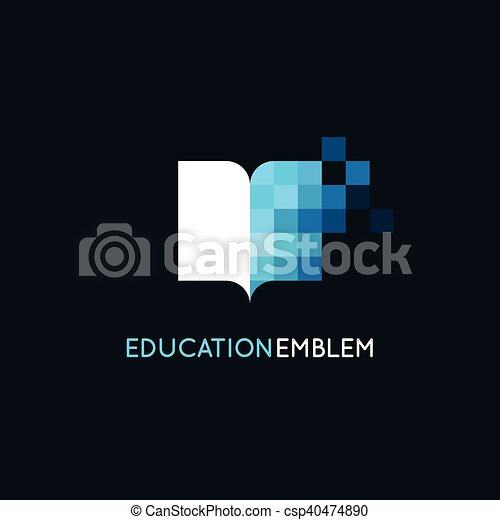 Vector abstract logo design template - online education and learning concept - csp40474890