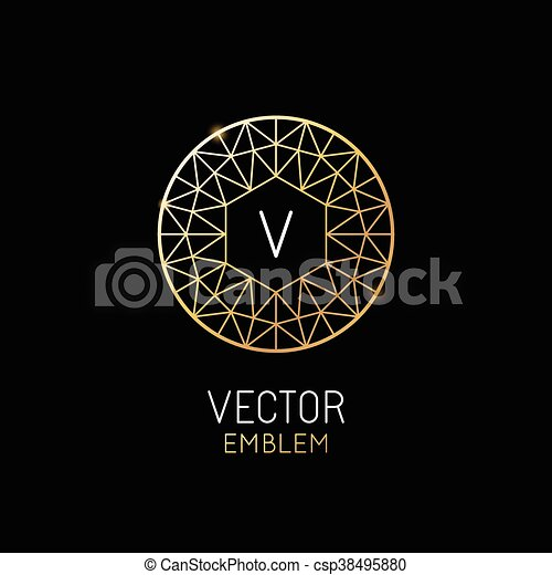 vector abstract luxury logo design template in trendy linear style