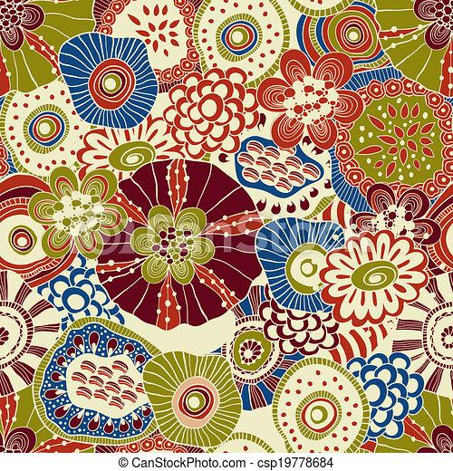 Vector Abstract Seamless Floral Composition - csp19778684